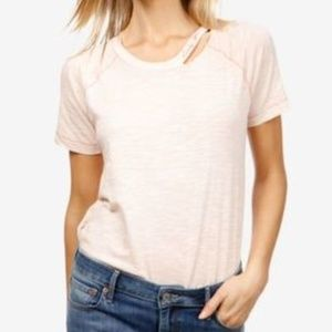 Lucky Brand Cotton Embroidered T-Shirt Peach Whip